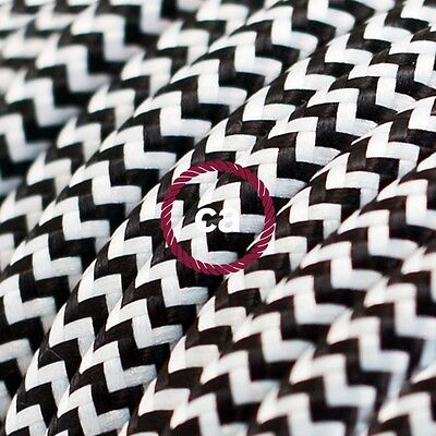 RZ04 Black ZigZag Round Electric Cable covered by Rayon fabric