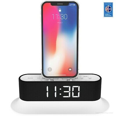 iPhone X 8 8+ 7 6 5 Dock Radio Alarm iPod Touch nano MoreAudio Chronos White