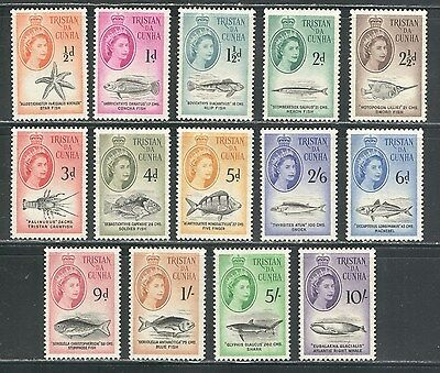 FISH, CRUSTACEANS, WHALE ON TRISTAN DA CUNHA 1960 Scott 28-41, MNH