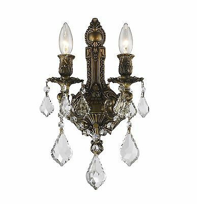 "2-Light Antique Bronze Finish D 12"" x H 13"" Diana Crystal Wall Sconce Light"