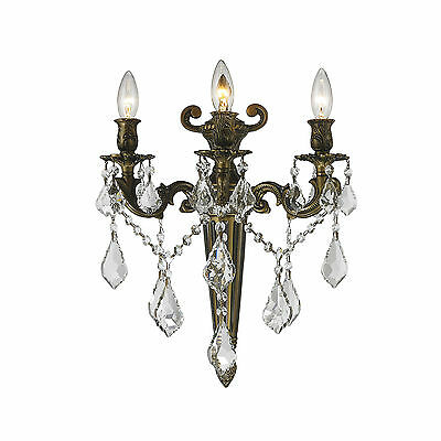 """3-Light Antique Bronze Finish D 15"""" x H 18"""" Diana Crystal Wall Sconce Torch"""