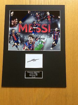Lionel Messi Barcelona FC Hand Signed Photo Mount