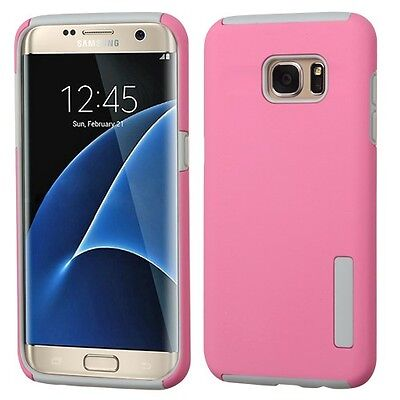 Pink/Gray Hybrid Phone Protector Cover Case for Samsung Galaxy S7 edge