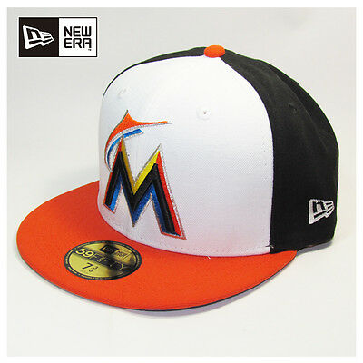 Miami Marlins MLB Basic White Front New Era Fitted Cap, Hat