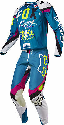 Fox Racing Mens Teal Blue/Pink/White 360 Rhor Dirt Bike Jersey & Pants Kit Combo