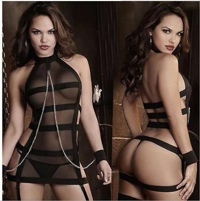 Chemise Black With Chain  Underwear Babydoll+Lingerie G-String 8-10