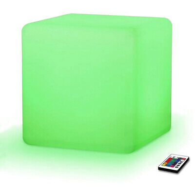 "New! Led Color Cube Ottoman/stool/end Table - 16"" Light Chair - Glowing Box"