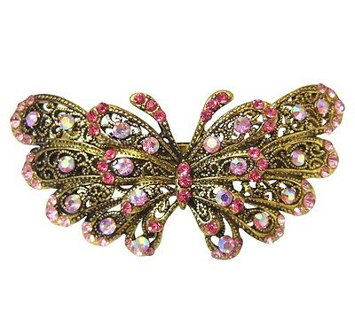 Vintage Style Pink Crystal Butterfly Hair Accessory Clip with Antique Gold Metal