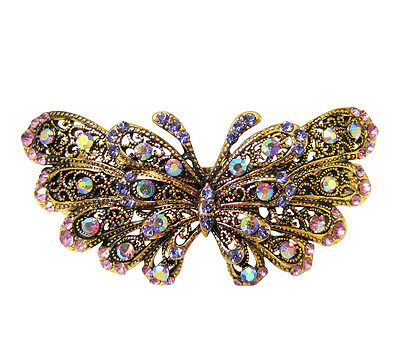 Vintage Style Purple Crystal Butterfly Hair Accessory Clip w/ Antique Gold Metal