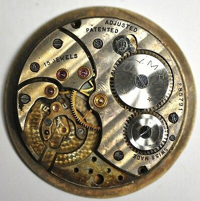 Cyma Pocket Watch Movement 15 Jewels Adjusted For Parts/repairs #w107
