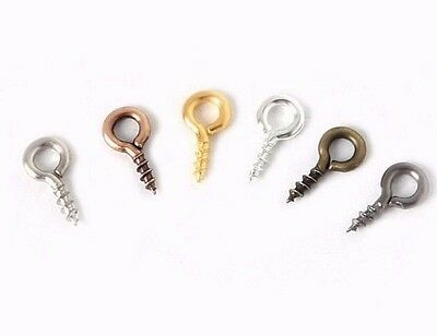 50pcs Small Screw Eye Pins eyelets Hooks Bails eyepins Jewellery Findings Craft