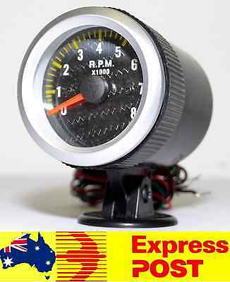 "Carbon Fibre Face 2"" Inch 52mm Tacho 0 - 8000 RPM Rev Gauge Tachometer Turbo Car"