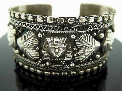 """Vintage Egyptian Revival 800 Silver Scarab Sphinx Palm Cuff Bracelet Size 7"""""""