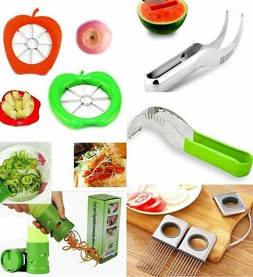 Apple Watermelon Slicer Server Knife Cutter Corer Scoop Stainless Steel Tool J