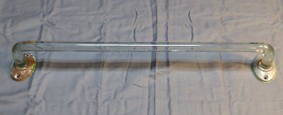 "Vtg 18"" Art Deco Bent Thick Glass Towel Bar Chrome Brackets Old Bathroom 1270-16"