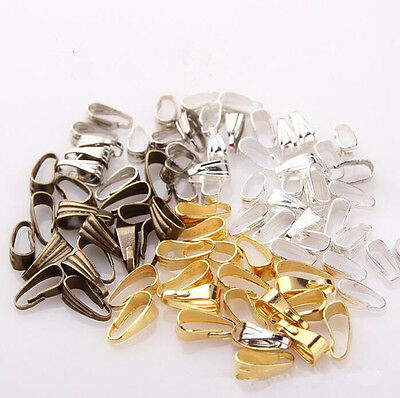 100pcs Copper Bail Clip Hot Silver/Gold/Bronze Connectors Tone New Necklace 6mm