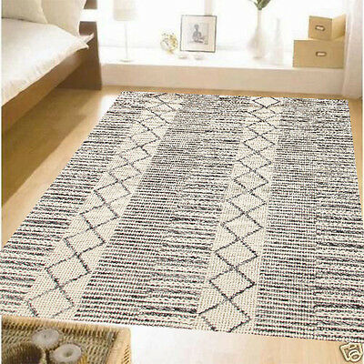 Rosi Wool Black White Colour Natural Thick Floor Rug Thick Carpet 240x330cm