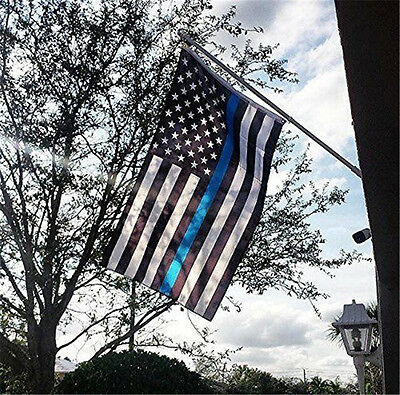 Thin Blue Line American Flag Police 3x5 Foot Law Enforcement Grommets Garden New