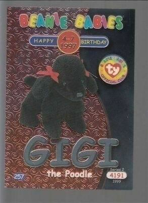 1999 TY Beanie Babie Series 2 Birthday/Rookie Card Gigi Silver #257