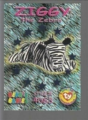 TY beanie Babies Series 3 Wild Cards #51 Ziggy The Zebra Teal Foil