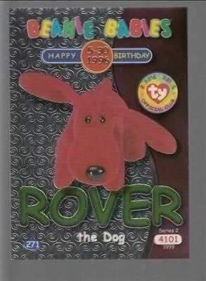 1999 TY Beanie Babie Series 2 Birthday/Rookie Card Rover Green #271
