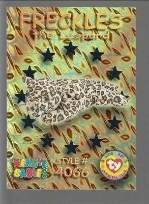 TY beanie Babies Series 3 Wild Cards #47 Freckles The leopard Teal Foil