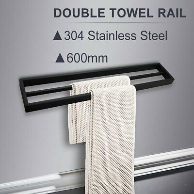 BLACK 600mm Double Towel Rack Rail Solid Stainless Steel Square Wall Bathroom