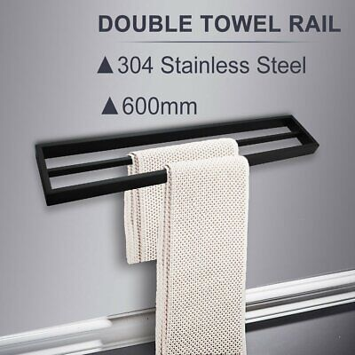 BLACK 600mm Double Towel Rack Rail Stainless Steel Square Wall Mount Bathroom