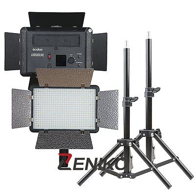 2X Godox LED 500 3300-5600K Video Light with Reflectors + 80cm Light Stands Kit