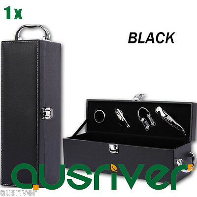 New Premium PU Leather Wine Gift Box Accessory Kit Velvet Lining Single Black
