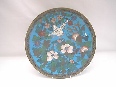 ANTIQUE Japanese CLOISONNE MEIJI FLORAL/BIRD CHARGER (A) - 12""