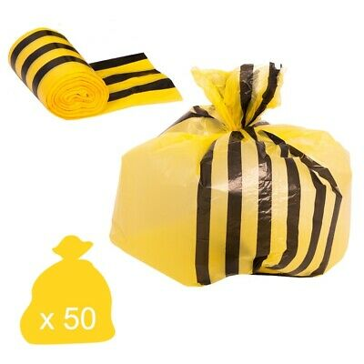Yellow Tiger Stripe Offensive Waste Disposal Bags - Large Medium Duty 70 Litre S