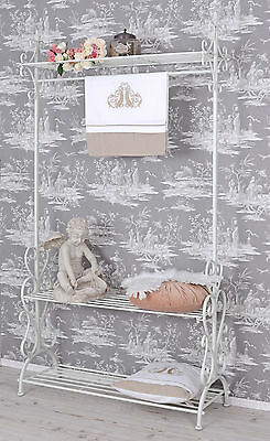 Stand Shelf Wardrobe Country House Style Metal Stand Shelf Valet Stand White