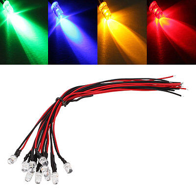 10Pcs 12V Pre Wired LED Lamp Light Bulb Prewired Emitting Diodes Light DIY