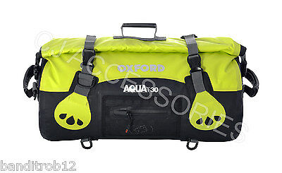 FLURO Oxford Motorcycle Aqua T30 All Weather 30L Waterproof Roll Top Bag Luggage