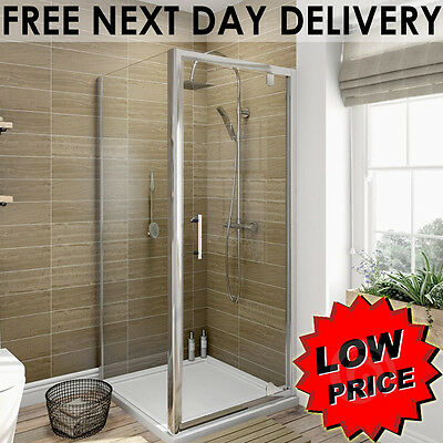 Pivot Door Shower Enclosure and Tray Cubicle 6mm Glass Screen+Side Panel+Waste
