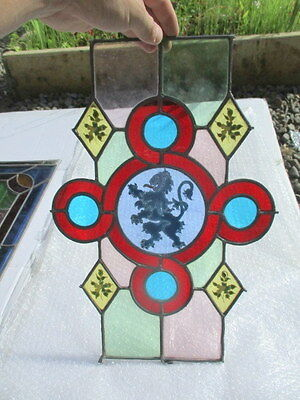 Vintage Stained Glass Window Panel English Lion Colourful Architectural Offcut