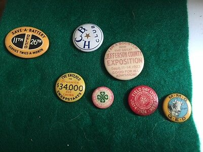 Vintage Pin Button Lot of 7 pins