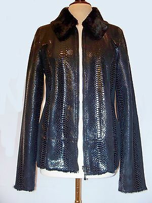 Leather Jackets For Women Black Coat Outerwear Reversible Faux Fur Snake Skin
