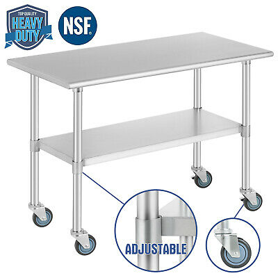 """Food Prep Work Table for Kitchen Restaurant w/ 4 Wheels 24""""x48"""" Stainless Steel"""