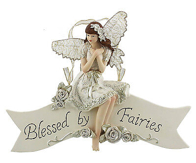 Fairy Wishes Cream Figurine Gift Ornament Wall Hanging Plaque Blessed by Fairies