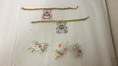 Lot 5 Various Children's Animal Jewelry Pins & Bracelets-1 Heartline  AS SHOWN