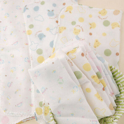 5x Cute Muslin Squares Baby Muslins Cloths Nappy Inserts 30cm 100% Cotton Bibs