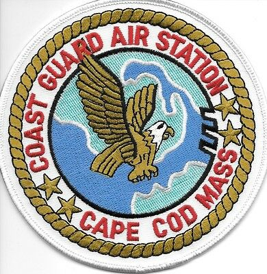 "USCG Coast Guard Patch - Air Station  Cape Cod, MA (5"" round size) (fire)"