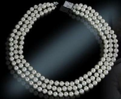 Jackie Kennedy Triple Strand Pearl Necklace 20 Inch NEW!