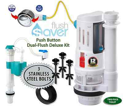 FlushSaver Push Button Dual-Flush  Kit | Fill Valve | 3 Stainless Bolts | Gasket
