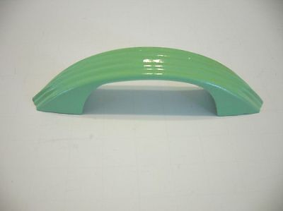 VINTAGE Art Deco Light GREEN DRAWER Door Pulls Handles Ribbed Face National Lock • CAD $25.20