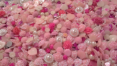 'new' 100/ 250 Pcs Pink And Ivory Delight Mix - Mixed Flatback/ Embellishments