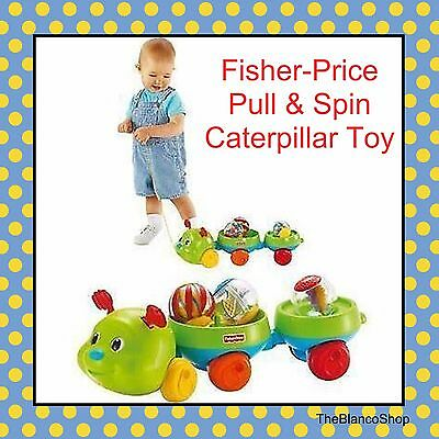 Fisher-Price Pull & Spin Caterpillar Roll-Around Infant Toddler Pull Toy NEW
