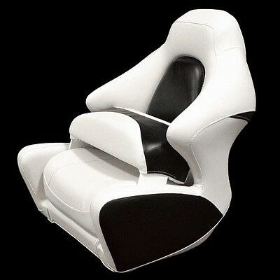 Crownline White Black Marine Boat Captains Bolster Seat Chair (Single)